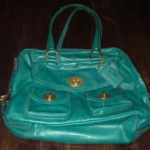 Large blue Coach all leather handbag